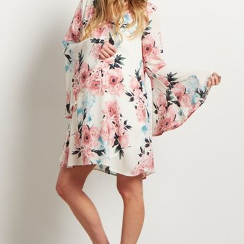 Ivory-Floral-Chiffon-Trumpet-Sleeve-Dress