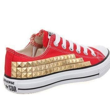 DCCK1IN studded converse converse red low top with gold pyramid studs by customduo