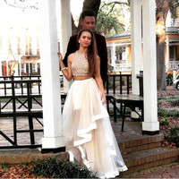 2016 new Sexy Prom dress  Fashionable A line High neck Beaded Tulle Floor length long 2 piece prom dresses