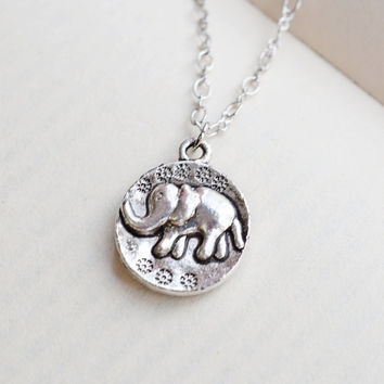 Cute Elephant Necklace,Silver Elephant Charm Pendant,Dainty Elephant Jewelry,Animal Elephant Coin Necklace,Lucky Necklace,Lovely Elephant