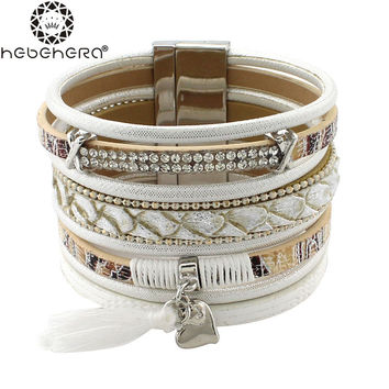 New Arrival Fashion Multilayer Rhinestone Leather Tassel Bracelet Bangle Magnetic Jewelry for Women pulseira feminina Friendship