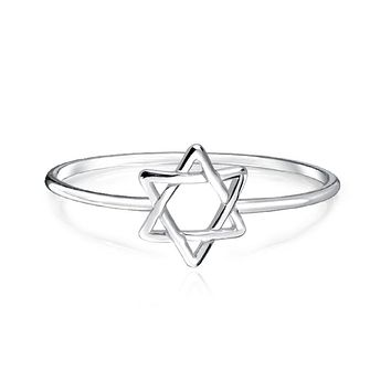 Midi Knuckle Thin 1MM Band Star Of David Ring 925 Sterling Silver