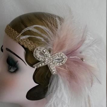 Show girl, burlesque, stripper, vintage 20s headband, headpiece, gold, winter wedding, gold headband