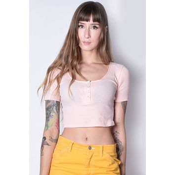 Amy Ribbed Henley Crop - Peach