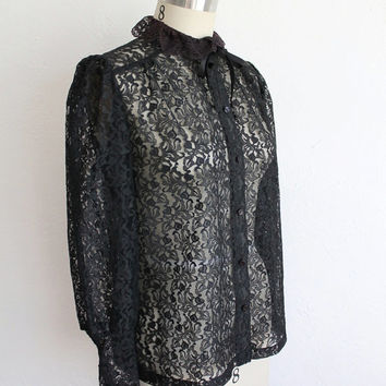 Vintage 70s Victorian Style Black Lace High Collar Mourning Blouse