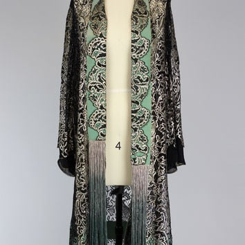 Rare 1920s Gold Metallic Lace Duster Coat with Ombré Fringe Scarf