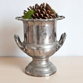 Large Leonard Silver Plated Trophy Champagne Bucket Wine Cooler, Rustic Aged Patina Planter