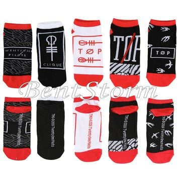 Licensed cool 21 Twenty One Pilots Band Logo 5 Pair Ladies No Show Ankle Socks mix match NEW