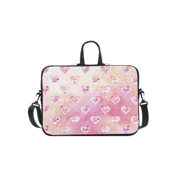 Personalized Laptop Shoulder Bag Vintage Pink Hearts With Love Words Microsoft Surface Pro 3/4 Inch