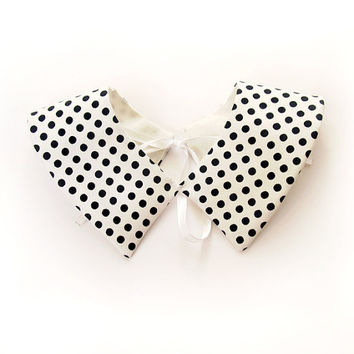 White Collar Peter Pan, Detachable Polka Dots Necklace for girl, Free Shipping