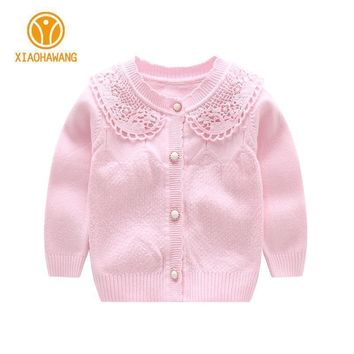 O Neck Baby Girls Sweater Long Sleeve Baby Sweaters Knitted Cotton Infant Coat Girls Cardigan Sweaters 2017 Baby Girls Clothing