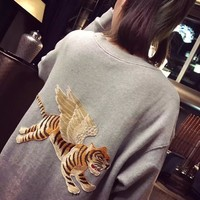 """Gucci"" Women Casual Fashion Logo Letter Print Flying Tiger Embroidery Loose Long Sleeve Sweater Tops"