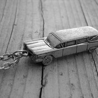 Silver Hearse Necklace Hearse Jewelry Old Cadillac Hearse Classic Car Hot Rod Gothic Goth Funeral Death Psychobilly Rockabilly Car Jewelry