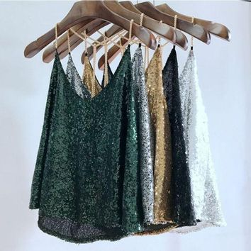 2017 Women Sequined Camis V Neck Backless Tank Tops Summer Sexy Camis Tops