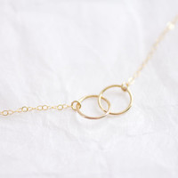 Entwined gold filled circles rings necklace - simple delicate jewelry by AmiesAmies