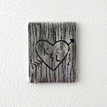 Personalized Magnet Couples Wood Tree Carving on Metal