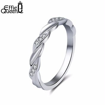 Effie Queen Women Wedding band Silver Color Ring with Clear CZ Authentic Twist Of Fate Stackable Twisted Rings Jewelry DR18
