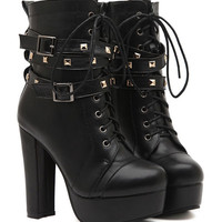 Black Studded Lace Up Buckle Detail Block Platform Ankle Boots