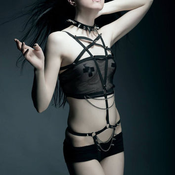 Pentagram spiked and chained body harness Punk rivet goth lingerie Gothic clothing elastic rope super sexy underwear sets
