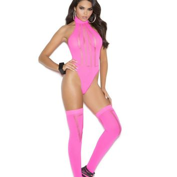 Opaque and sheer teddy with matching stockings  Neon Pink