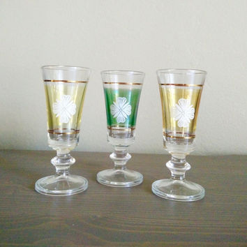 Set of 3 vintage cordial glasses, colorful shot glasses, 4 leaf clover green and gold stemmed aperitif liqueur glasses