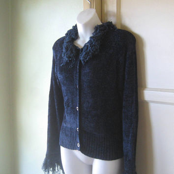 1990s Retro Glam Cobalt Blue Velour Cardigan - Faux Boa Trim Snuggly Navy Blue Cardigan - Navy Velour Button Up Sweater; Medium-Large