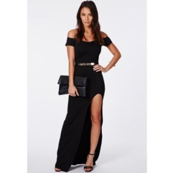 Missguided - Pavitra Black Split Bardot Maxi Dress
