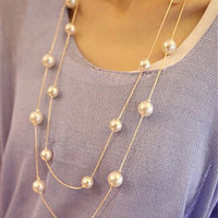 Simulated Pearl Jewelry Collier Fashion Long Necklaces & Pendants Big Multilayer Christmas Gifts Gold for Women Collares Bijoux