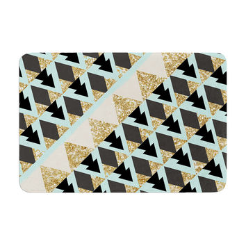"Nika Martinez ""Glitter Triangles in Gold & Teal"" Blue Brown Memory Foam Bath Mat"