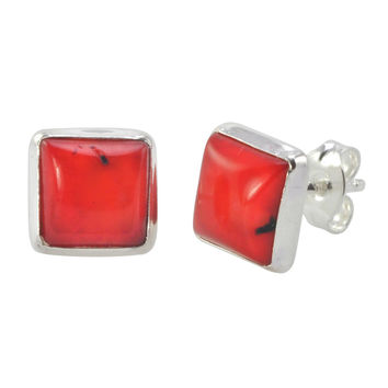 Red Coral Stud Earrings 925 Sterling Silver 9mm Square