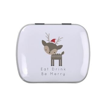 Eat Drink Be Merry Christmas Deer In Red Santa Hat Jelly Belly Tins