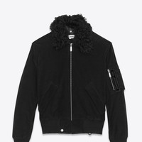 Classic Bomber Jacket in Black Corduroy and Shearling