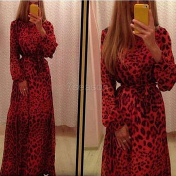 Women Fashion Long Sleeves Leopard Print Slim Long Party Club Maxi Dress 7_S (Size: S, Color: Red) = 1905861956