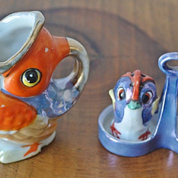 Lustreware Bird Creamer, Lustreware Bird Salt And Pepper Shakers
