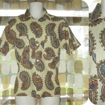 Vintage 60s Men's Linen Shirt | Flax Tan Paisley Print | Manhattan Man-Prest | 60s Mens Fashion | Tab Collar Cabana Shirt | 15- 151/2