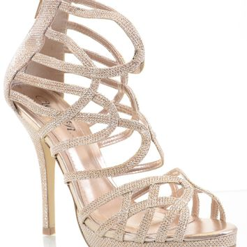 Glitter Mesh Caged Strappy Open Toe Stiletto Party Sandal Heels