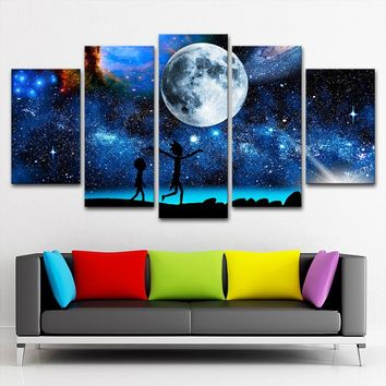 Rick and Morty Stars Earth Moon Wall Art Panel Print 5 Panel Framed UNframed
