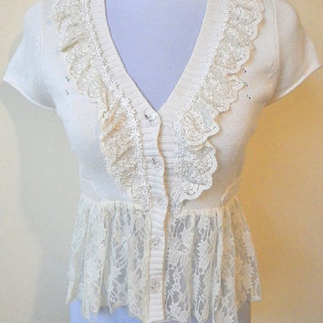 SALE! cream laced knit top or shrug, $15
