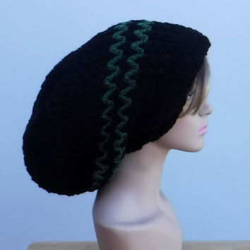 All year slouchy beanie, large Tam Dreadlock Hippie Beanie Dread Hat long beanie black/green