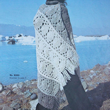 Vintage knitted wrap stole pattern PDF Instant Download 1970 Vintage Crochet Poncho Afghan Granny Poncho Crochet Pattern Instant Download