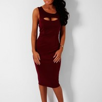 Aroma Wine Cut Out Bust Bodycon Keyhole Midi Dress | Pink Boutique