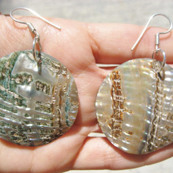 Abalone Paua Shell Earrings 40mm Round Hoop Sea Seashell Large Big Irridescent Mother Of Pearl Sterling Silver Hook