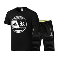 Adidas Summer Fashion Men Casual Short Sleeve Top Shorts Set Two-Piece Sportswear Black