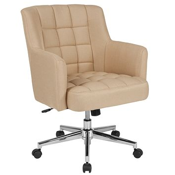 Laone Home and Office Box Tufted Upholstered Mid-Back Chair