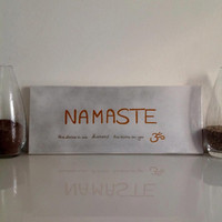 "Yoga ""Namaste"" - mid-size canvas Yoga Wall Art handmade written - original by misssfaith"
