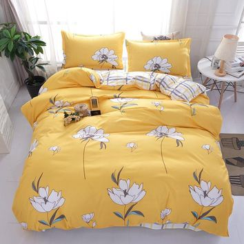 Cool White flowers and yellow grid patterns bedding sets twin full queen king size Good quality duvet cover sets bed sheet pillowcaseAT_93_12