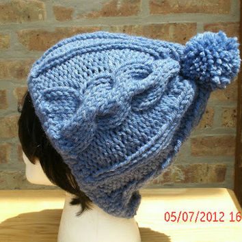 Hand Knit Hat - The Helix in bluebell - Women's Hat - Fall, Winter Accessories - Glee inspired