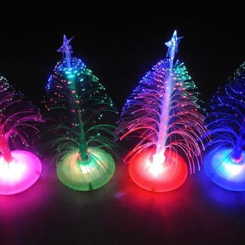 Multi-Color Optical Fiber Christmas Tree Night LED Light Decoration Ornament = 1946180932