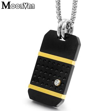Moorvan biker men military dog tag pendant necklace punk fashion square necklace man stainless steel jewelry boyfriend gift VP87