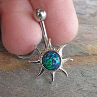 Blue Green Fire Opal Sun Belly Button Jewelry Ring